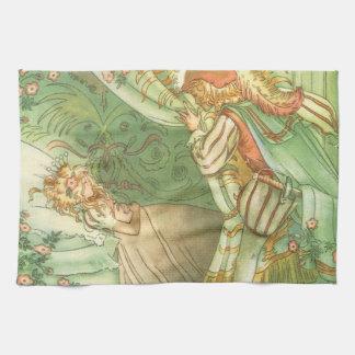 ヴィンテージのおとぎ話、眠れる森の美女のプリンセス キッチンタオル