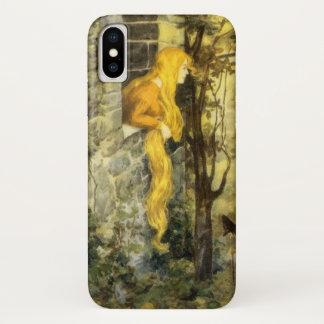 ヴィンテージのおとぎ話、長い金髪を搭載するRapunzel iPhone X ケース