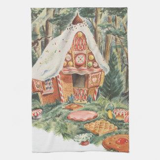 ヴィンテージのおとぎ話、HanselおよびGretelキャンデーの家 キッチンタオル