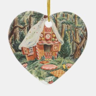 ヴィンテージのおとぎ話、HanselおよびGretelキャンデーの家 セラミックオーナメント