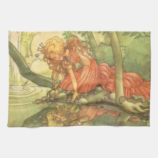 ヴィンテージのおとぎ話、Princess池によるカエルの王子 キッチンタオル