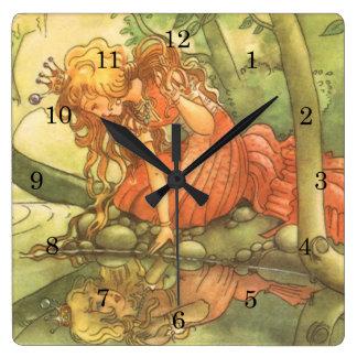 ヴィンテージのおとぎ話、Princess池によるカエルの王子 スクエア壁時計