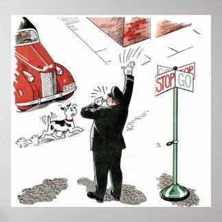 ヴィンテージのおもしろい犬の交差 ポスター