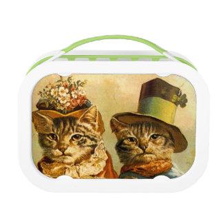 ヴィンテージのお弁当箱人間の形をした猫のカップル ランチボックス