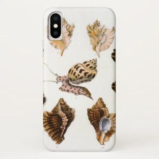 ヴィンテージのかたつむりおよび軟体動物の海洋生物の有機体 iPhone X ケース