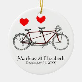 ヴィンテージのかわいいタンデム自転車のカスタムな結婚式 セラミックオーナメント