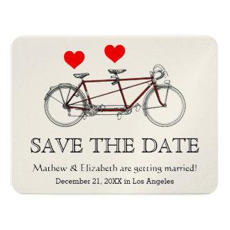 ヴィンテージのかわいいタンデム自転車の結婚式の保存日付 カード
