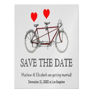 ヴィンテージのかわいいタンデム自転車の結婚式の保存日付 マグネットカード