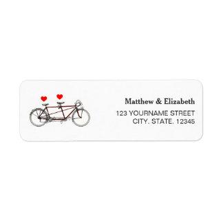 ヴィンテージのかわいいタンデム自転車の結婚式の差出人住所 ラベル