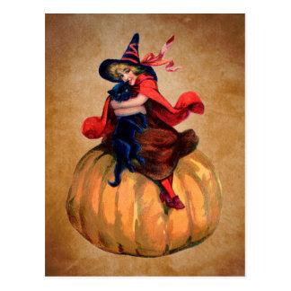ヴィンテージのかわいいハロウィン魔法使いおよび猫 葉書き