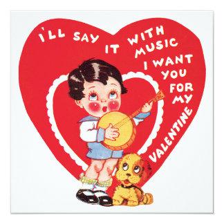 ヴィンテージのかわいいバレンタインデー、子供音楽バンジョー カード