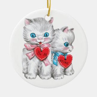 ヴィンテージのかわいいバレンタインデー、柔らかい子ネコ猫 セラミックオーナメント