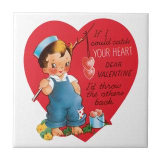 ヴィンテージのかわいいバレンタインデー、男の子の魚釣りのハート タイル