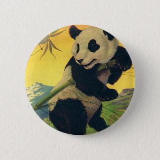 ヴィンテージのかわいいパンダくまの食べ物のタケ、野生動物 5.7CM 丸型バッジ