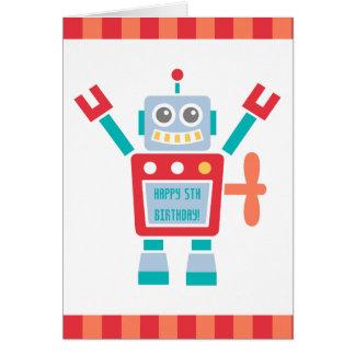 ヴィンテージのかわいいロボットおもちゃのハッピーバースデー カード