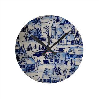 ヴィンテージのかわいい冬の雪のクリスマスのクリスマスの休日 ラウンド壁時計