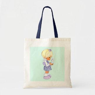 ヴィンテージのかわいい小さな女の子およびイースターのウサギ トートバッグ