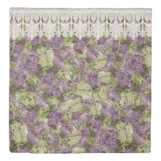 ヴィンテージのかわいらしい寝室の装飾のライラックnのレースは開花します 掛け布団カバー