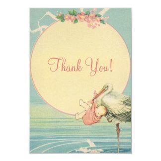 ヴィンテージのこうのとりのピンクの女の子のベビーシャワーは感謝していしています カード