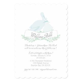 ヴィンテージのこうのとりの青色児のシャワーの招待 カード