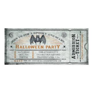 ヴィンテージのこうもりのハロウィンのチケットの招待状II 10.2 X 23.5 インビテーションカード