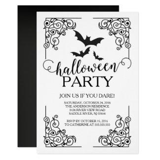 ヴィンテージのこうもりのハローウィンパーティの招待状 カード