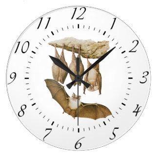 ヴィンテージのこうもりの絵、動物のスケッチ ラージ壁時計