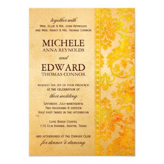 ヴィンテージのこはく色のダマスク織のレースの結婚式 カード