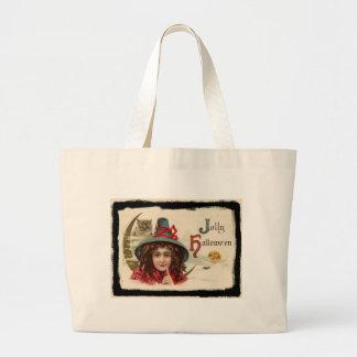 ヴィンテージのすてきなハロウィンの魔法使い ラージトートバッグ