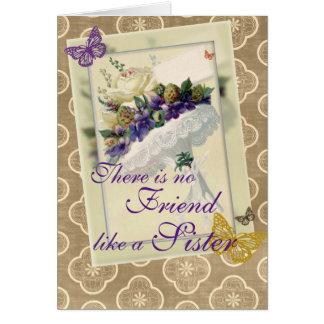 ヴィンテージのすみれ色の花束の姉妹および友人の誕生日 カード