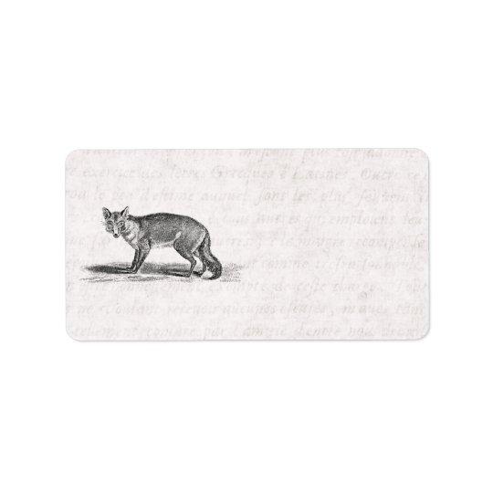 ヴィンテージのずるいキツネのイラストレーション- 1800'sキツネ ラベル