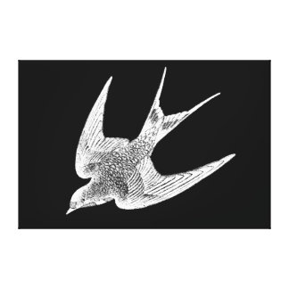ヴィンテージのつばめのイラストレーション- 1800'sアンティークの鳥 キャンバスプリント