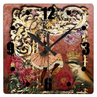 ヴィンテージのばら色のジプシーのダンサーのフランス人のコラージュ スクエア壁時計