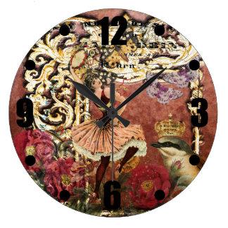 ヴィンテージのばら色のジプシーのダンサーのフランス人のコラージュ ラージ壁時計