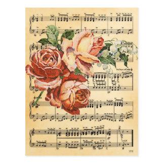 ヴィンテージのばら色のトリオ及び音楽 ポストカード