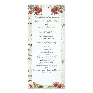 ヴィンテージのばら色の結婚式プログラム カード