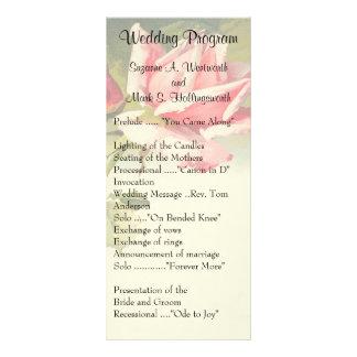 ヴィンテージのばら色の結婚式プログラム ラックカード