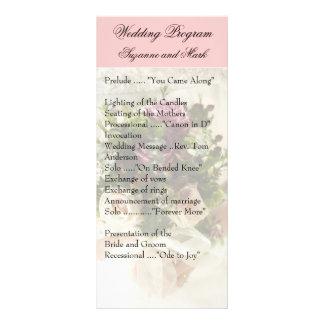 ヴィンテージのばら色の結婚式プログラム、春の結婚式 ラックカード