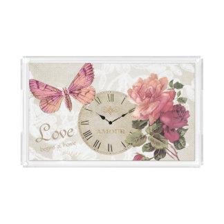 ヴィンテージのばら色の結婚式愛蝶時計の皿 アクリルトレー