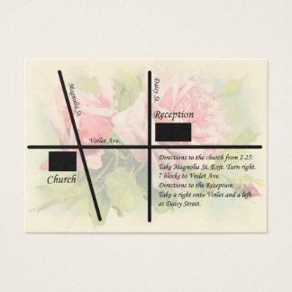 ヴィンテージのばら色の結婚披露宴の地図 名刺
