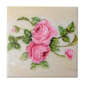 ヴィンテージのばら色の花のタイル 正方形タイル小