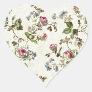 ヴィンテージのばら色の花パターンぼろぼろの上品 ハートシール