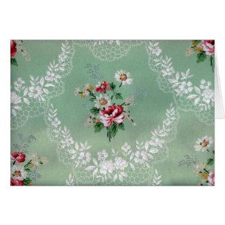 ヴィンテージのばら色の花束の壁紙のデザイン カード