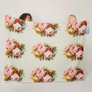 ヴィンテージのばら色の花束 フリースブランケット