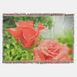 ヴィンテージのばら色の花 スローブランケット