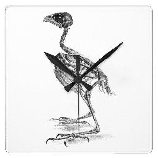 ヴィンテージのひな鳥の骨組エッチング スクエア壁時計