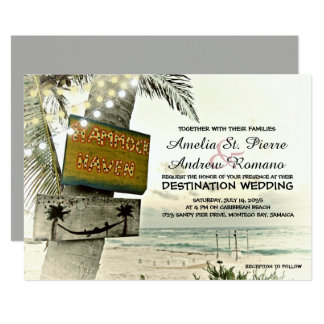 ヴィンテージのひもライト行先のビーチ結婚式 12.7 X 17.8 インビテーションカード