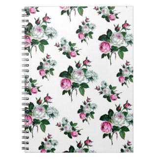 ヴィンテージのぼろぼろのシックなピンクの白いバラパターン ノートブック