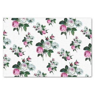 ヴィンテージのぼろぼろのシックなピンクの白いバラパターン 薄葉紙