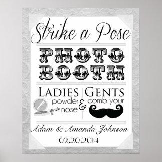 ヴィンテージのぼろぼろのシックな写真ブースの結婚式の印 ポスター